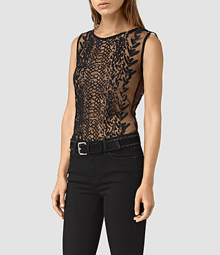 Women's Cariad Embroidered Top (Black) - product_image_alt_text_3