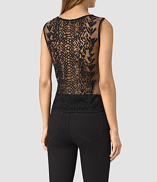Women's Cariad Embroidered Top (Black) - product_image_alt_text_4