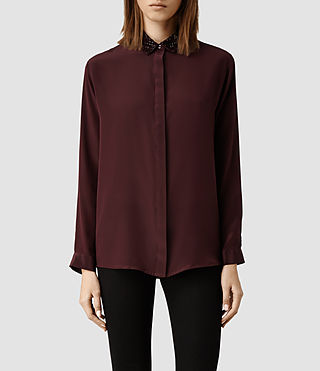 Womens Lota Collar Shirt (Oxblood)