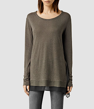 Womens Miro Long Sleeved Top (Khaki/Anthracite)