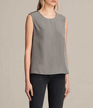 Womens Kaili Laced Tank (Khaki Green) - product_image_alt_text_3