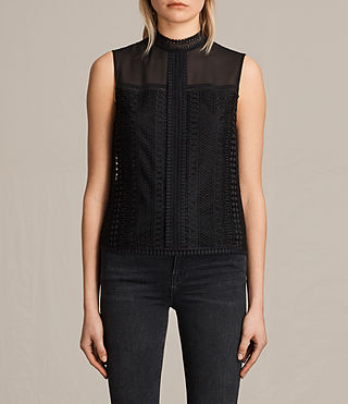 Women's Rowy Lace Top (Black) -