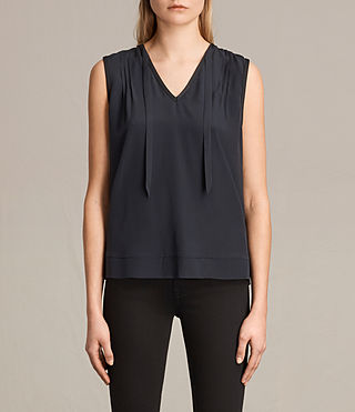 Damen Enber Silk Top (DARK INK BLUE)
