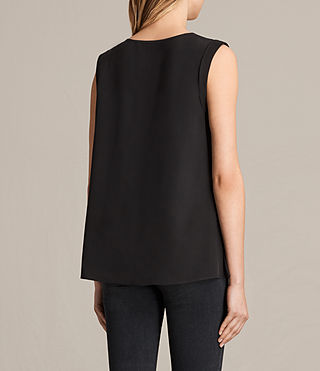 Women's Lisa Silk Top (Black) - product_image_alt_text_3