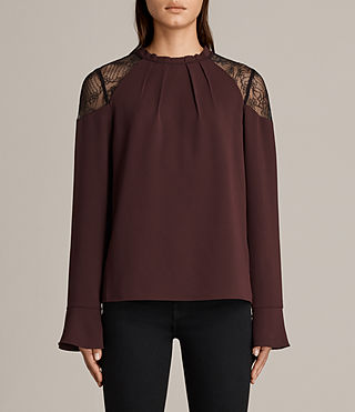 Womens Jay Lace Top (BORDEAUX RED) - Image 1