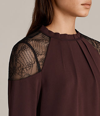 Womens Jay Lace Top (BORDEAUX RED) - Image 2