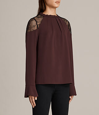 Womens Jay Lace Top (BORDEAUX RED) - Image 3