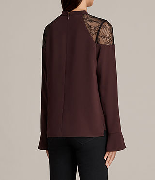 Womens Jay Lace Top (BORDEAUX RED) - Image 4
