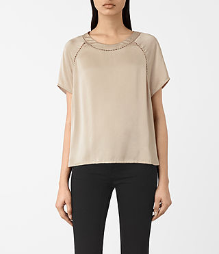 Femmes T-shirt Frieda en satin (OYSTER WHITE)
