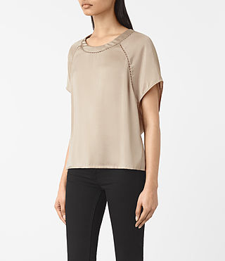Femmes T-shirt Frieda en satin (OYSTER WHITE) - product_image_alt_text_2
