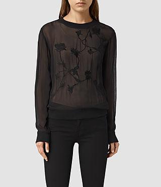 Womens Nathalia Sheer Sweatshirt (Black)