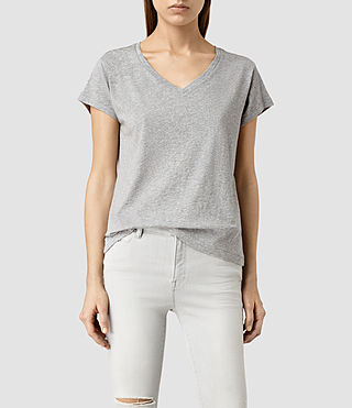 Womens Addi V Tee (Light Grey Marl)