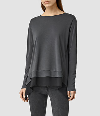 Womens Arya Ls Tee (PIRATE BLACK/BLACK)