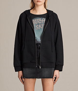 Damen Yara Laced Zip Hoody (Black)