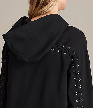 Women's Yara Laced Zip Hoody (Black) - product_image_alt_text_2