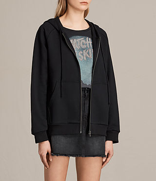 Women's Yara Laced Zip Hoody (Black) - product_image_alt_text_3