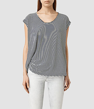 Damen Moon Bar V Tee (ChalkWhite/InkBlue)