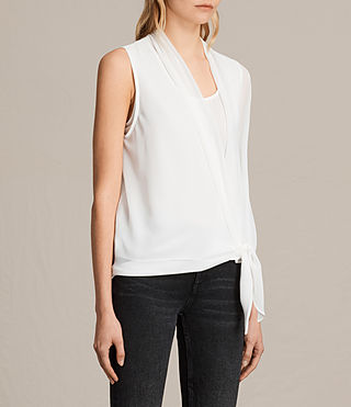 Womens Ava Tie Top (Chalk White) - product_image_alt_text_2