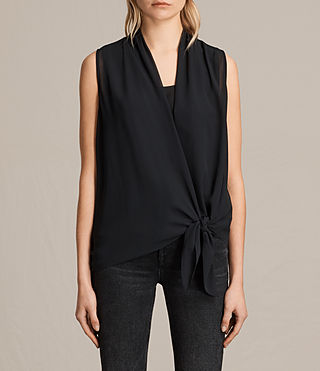 Mujer Top Ava Tie (Black) - product_image_alt_text_1