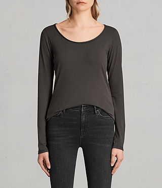 Damen Vetten Langarmshirt (Washed Black) - Image 1