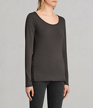 Womens Vetten Long Sleeve Tee (Washed Black) - product_image_alt_text_2