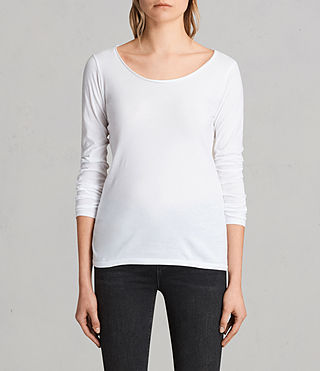 Womens Vetten Long Sleeve Tee (Optic White)