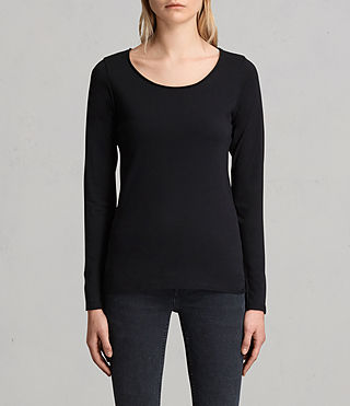 Womens Vetten Long Sleeve Tee (Black) - product_image_alt_text_1