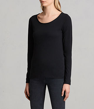 Women's Vetten Long Sleeve Tee (Black) - product_image_alt_text_2
