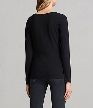 Women's Vetten Long Sleeve Tee (Black) - product_image_alt_text_3