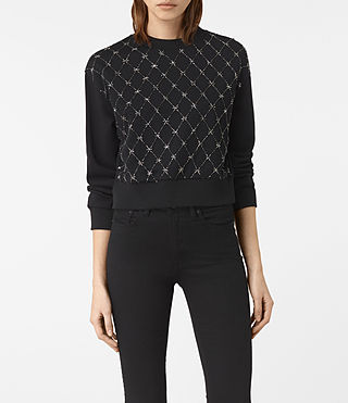 Womens Wire Embellished Sweatshirt (Washed Black) - product_image_alt_text_1