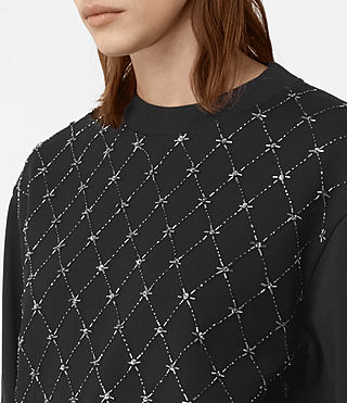 Womens Wire Embellished Sweatshirt (Washed Black) - product_image_alt_text_2