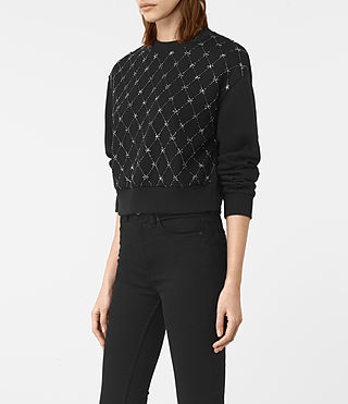 Womens Wire Embellished Sweatshirt (Washed Black) - product_image_alt_text_3