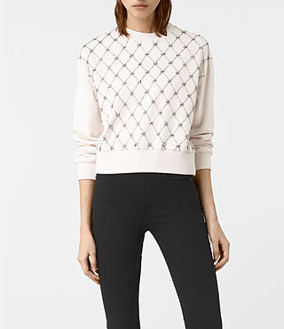 Damen Wire Embellished Sweatshirt (OYSTER WHITE)