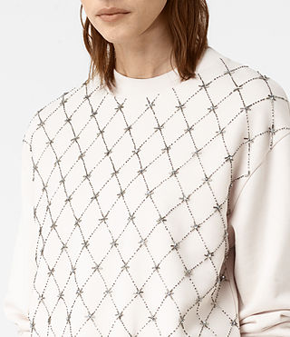 Mujer Wire Embellished Sweatshirt (OYSTER WHITE) - product_image_alt_text_2