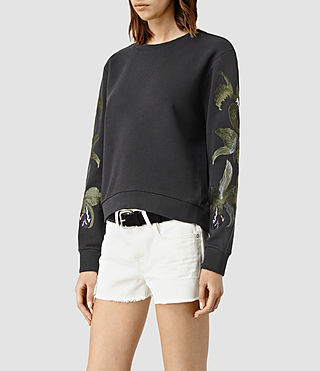 Womens Anya Embroidered Sweatshirt (Washed Black)