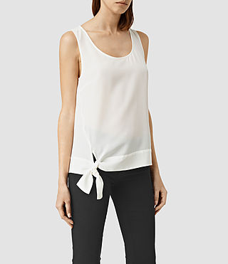 Women's Neely Silk Top (Chalk White) - product_image_alt_text_2