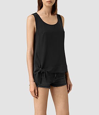 Women's Neely Silk Top (Black) - product_image_alt_text_2