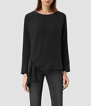 Women's Neely Long Sleeve Silk Top (Black)