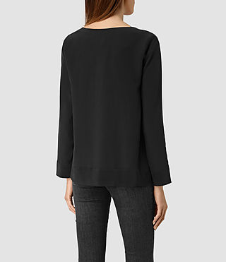 Womens Neely Long Sleeve Top (Black) - product_image_alt_text_3