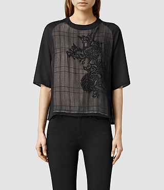 Womens Allura Embroidered Top (Black)