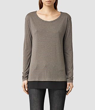 Womens Miro Long Sleeve Stripe Tee (DK Green/PebbleGry)