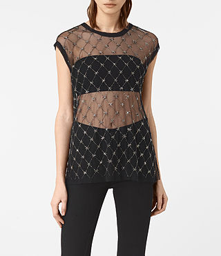 Damen Wire Embellished Tee (Black)