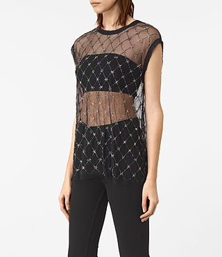 Women's Wire Embellished Tee (Black) - product_image_alt_text_3