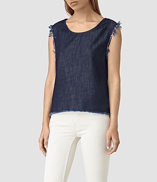 Women's Bloom Denim Top (DARK INDIGO BLUE) -
