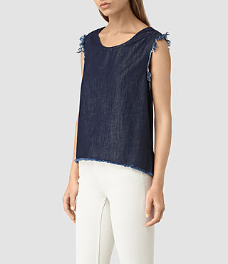 Women's Bloom Denim Top (DARK INDIGO BLUE) - product_image_alt_text_2