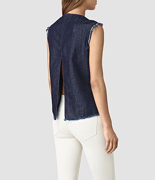 Women's Bloom Denim Top (DARK INDIGO BLUE) - product_image_alt_text_3