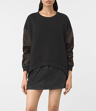 Damen Fia Embroidered Sweatshirt (Black) -
