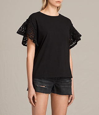 Womens Trixi Ruffle Top (Black) - product_image_alt_text_2