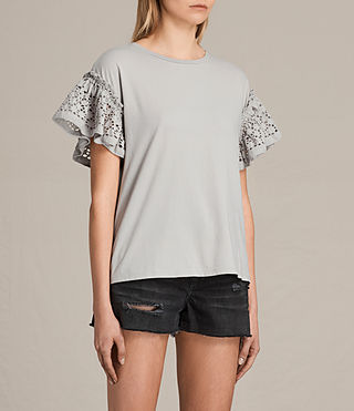Womens Trixi Ruffle Top (Grey) - product_image_alt_text_2