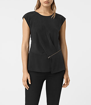 Women's Kado Silk Top (Black) -